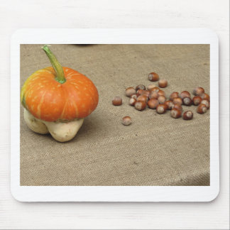 Autumn composition with pumpkin and hazelnuts mouse pad
