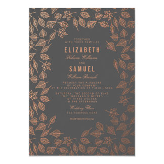 Autumn Copper Leaves Grey Wedding Invitation