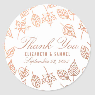 Autumn Copper Leaves Thank You Favor Sticker