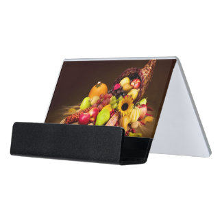 Autumn Cornucopia Desk Business Card Holder