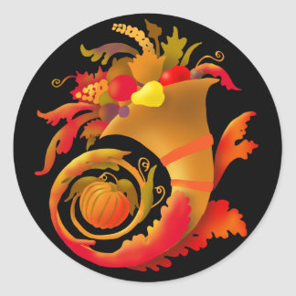 Autumn Cornucopia Round Sticker