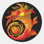 Autumn Cornucopia Round Stickers