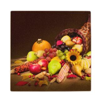 Autumn Cornucopia Wood Coaster