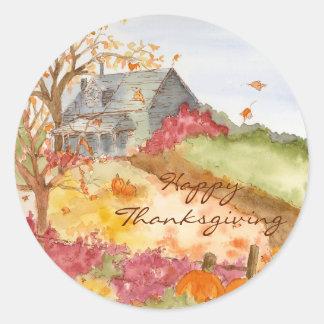 Autumn Country Home Happy Thanksgiving Round Sticker