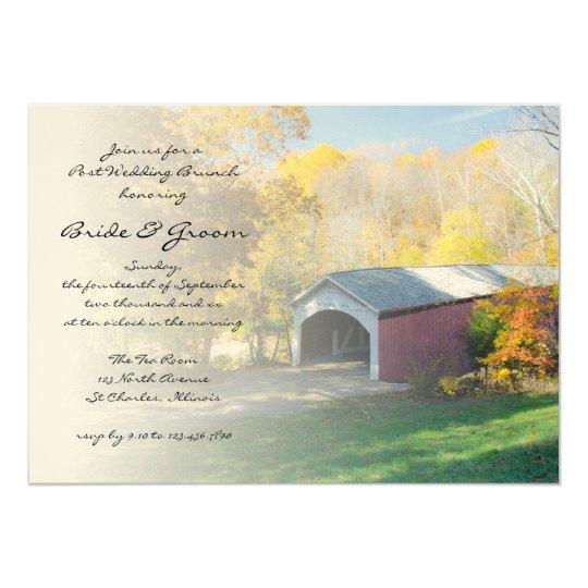 Autumn Covered Bridge Post Wedding Brunch Invite