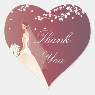 Autumn Crimson Bride Bridal Shower Heart Sticker