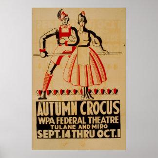 Autumn Crocus Vintage WPA Poster