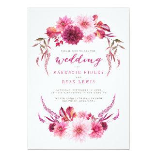 Autumn Dahlias Watercolor Fall Wedding Invitation