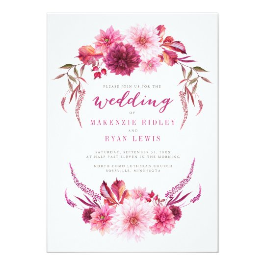 Autumn Dahlias Watercolor Fall Wedding Invitation
