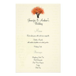 Autumn Dancing Blooms Menu Personalized Stationery