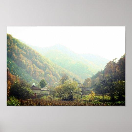 Autumn Day Village Mountain Photo Poster Paper