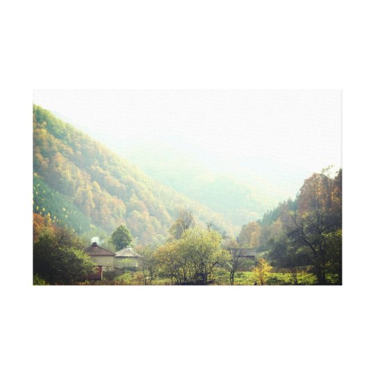 Autumn Day Village Mountain Photo Single Canvas Print
