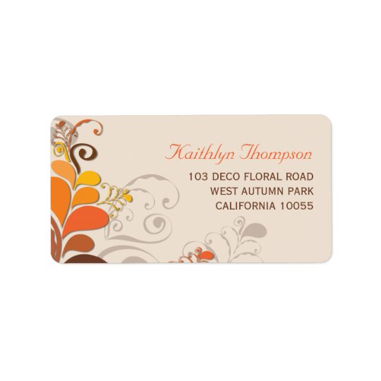 Autumn Deco Floral Swirls Address Labels