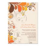 Autumn Deco Floral Swirls Wedding 2in1 Invite 13 Cm X 18 Cm Invitation Card