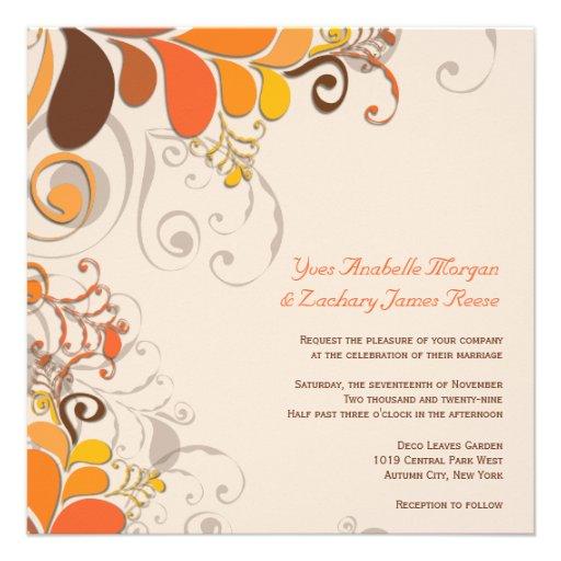 Autumn Deco Floral Swirls Wedding Invitation