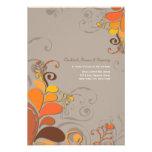Autumn Deco Floral Swirls Wedding Reception Invites