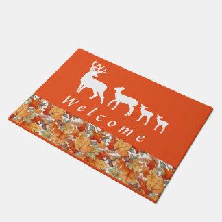 autumn deer family Welcome Doormat