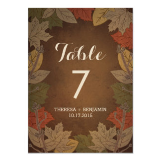 Autumn Delight Double-Sided Table Number Card 11 Cm X 16 Cm Invitation Card