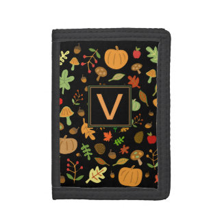 Autumn Design Monogrammable Tri-fold Wallet