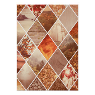 Autumn Diamond Pattern Poster