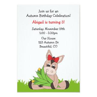 Autumn Donkey Birthday Invitation for Girls