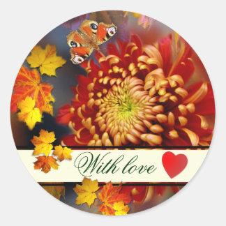 Autumn Dreaming ~  Round  Chrysanthemum Sticker