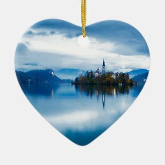 Autumn dusk at Lake Bled Ceramic Heart Decoration