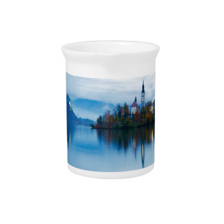 Autumn dusk at Lake Bled Drink Pitcher