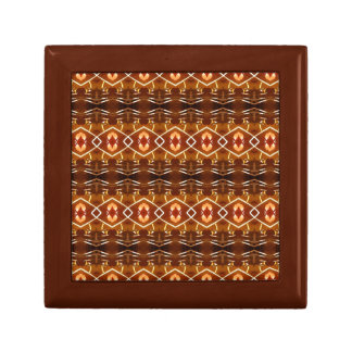 Autumn Earth Tones in a Tribal Pattern Design Small Square Gift Box