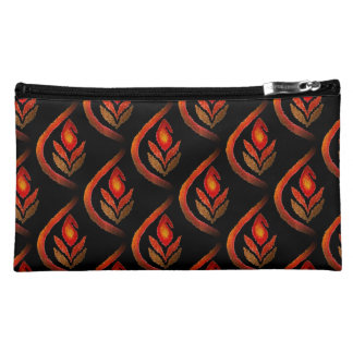 Autumn Earthy Ikat Hand painted Paisley Cosmetic Bag