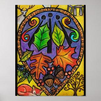 Autumn Equinox / Mabon / Alban Elfed / Awen art Poster