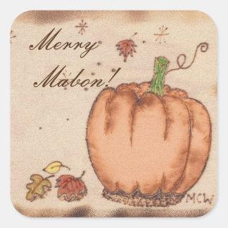 Autumn Equinox Prim Pumpkin  Mabon Harvest Home Square Sticker