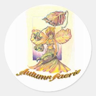 Autumn Faerie Round Stickers