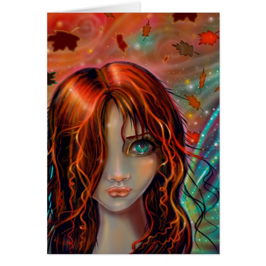 Autumn Fairy Fantasy Art Card