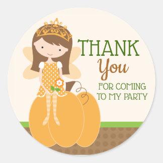 Autumn Fairy Princess Thank You Classic Round Sticker