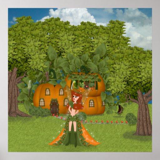 Autumn Fairy Pumpkin Cottage Poster