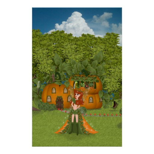Autumn Fairy Pumpkin Cottage Print