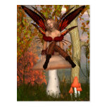 Autumn Fairy sitting on a toadstool with woodland Post Card