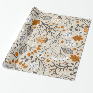 Autumn Fall Berries Leaves and Branches Pattern Wrapping Paper