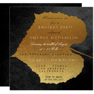 Autumn Fall Black Golden Leaves Birthday Party 13 Cm X 13 Cm Square Invitation Card