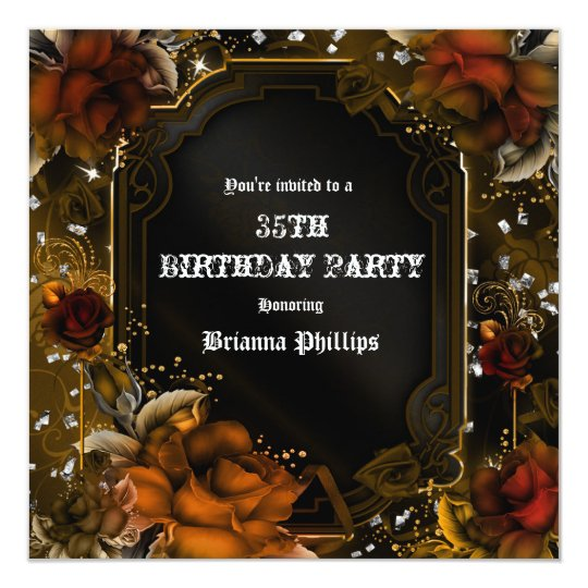 Autumn Fall Brown Roses Birthday Party Invitation