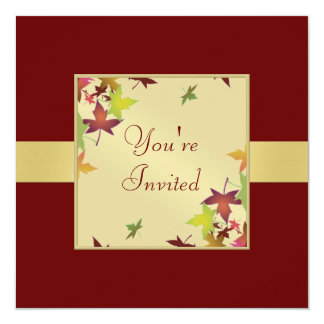 Autumn Fall Burgandy Thanksgiving Red Invitation