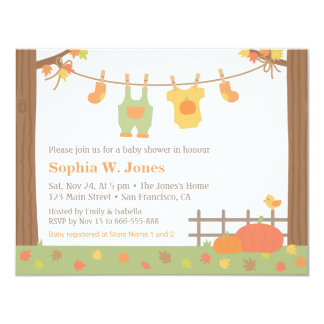 Autumn Fall Clothes Baby Shower Invitations
