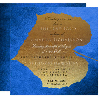 Autumn Fall Cobalt Golden Leaves Birthday Party 13 Cm X 13 Cm Square Invitation Card
