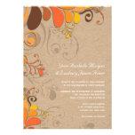 Autumn Fall Deco Floral Swirls Kraft Paper Wedding