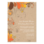 Autumn Fall Deco Floral Swirls Kraft Paper Wedding Personalized Announcement