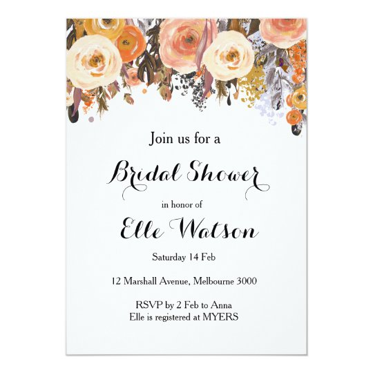 Autumn Fall Floral Chic Bridal Shower Invitation