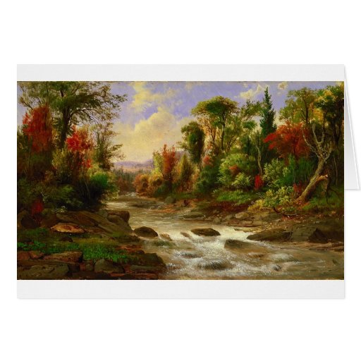 Autumn Fall Forest River Robert Duncanson Destiny Greeting Card
