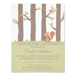 Autumn Fall Forest Squirrel Baby Shower 11 Cm X 14 Cm Invitation Card