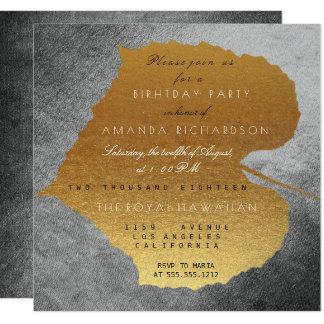 Autumn Fall Graphite Golden Leaves Birthday Party 13 Cm X 13 Cm Square Invitation Card